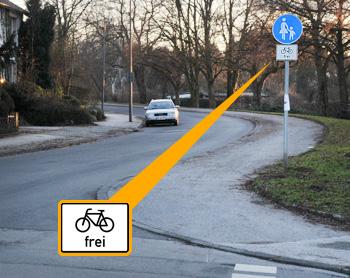 verkehrszeichen frei fahrrad